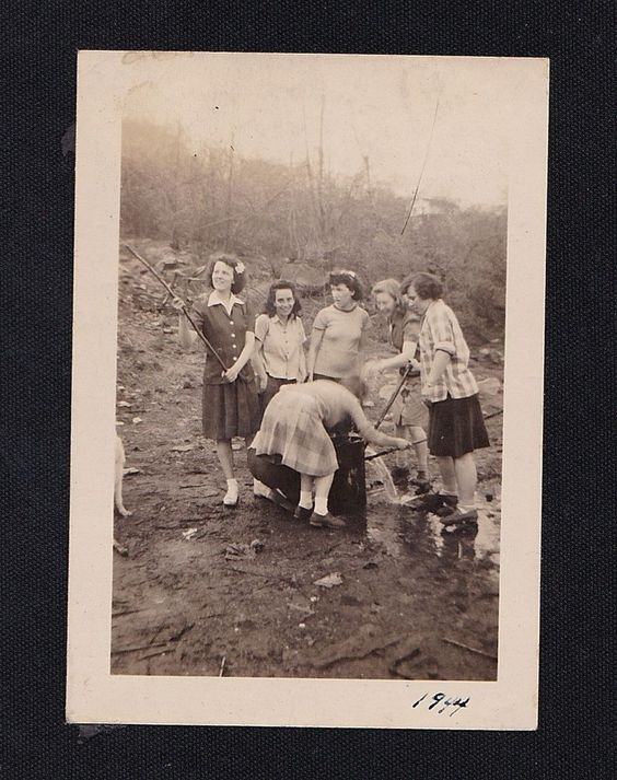 Old Vintage Antique Photograph Young Women With Sticks Getting Spring Water