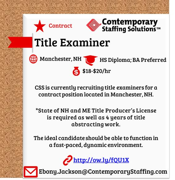 Hiring Title Examiners In Manchester NH 20 An Hour Email Resume