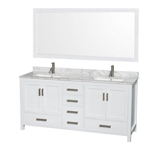 72 Inch Double Bathroom Vanity In White White Carrara Marble
