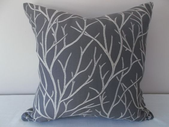 Grey And Cream Tree Decorative Pillow Cover 18 X 18 20