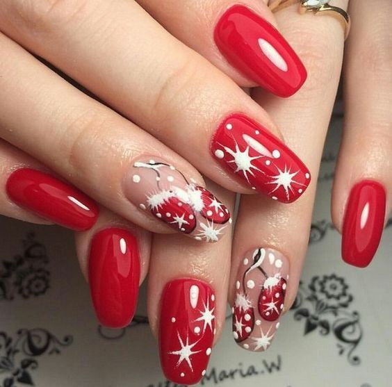 59 Christmas Nail Art Ideas For Early 2020 Red Nail Art Christmas Nail Designs Holiday Nail Art