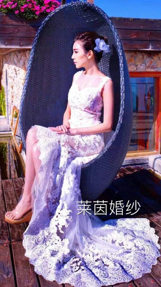 Hi low lace gown