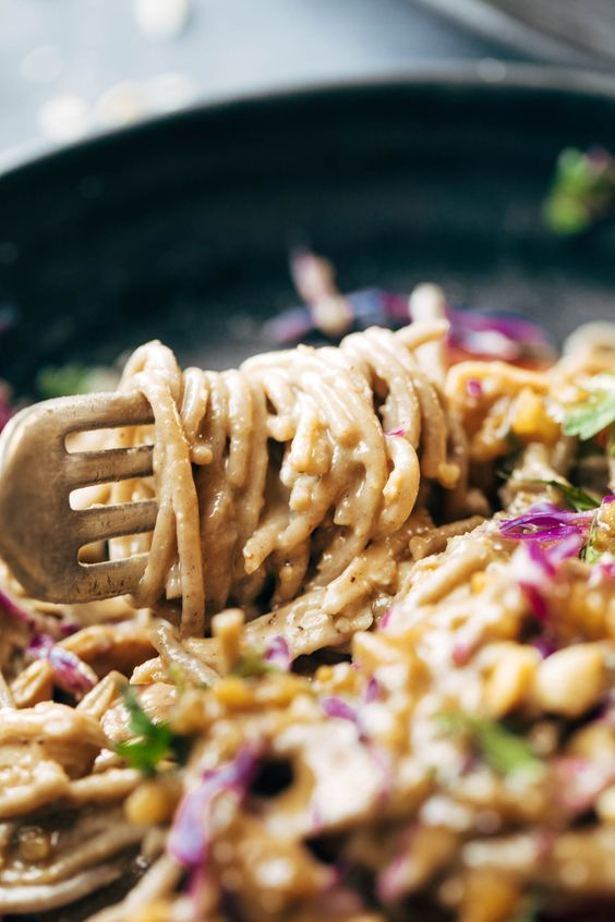 Spicy Peanut Soba Noodle Salad - veggies, chicken, soba noodles, and a quick homemade spicy peanut sauce. salads don't get much yummier than this. gluten free. | pinchofyum.com