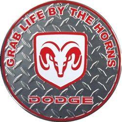 Dodge Grab Life By The Horns Embossed Vanity Metal Circular Sign CS60066