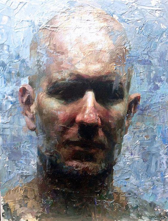 """When You Get There"" - Mia Bergeron, oil on panel {contemporary figurative artist male bald head #impasto brush stroke man face portrait texture painting} miabergeron.com"