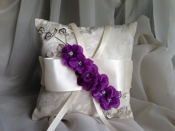 ring bearer pillow with purple flowers ring by TheCrystalFlower, $65.00 ❤