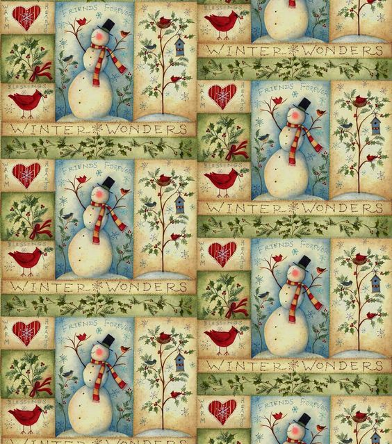 Susan Winget Cotton Fabric - Snowman Patch: