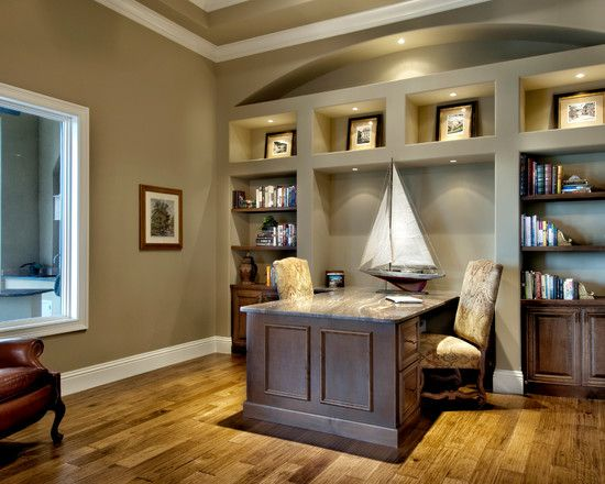 Amazing Comfy Home Office Design For Two People Ideas: Traditional Office Ideas  With Two Chairs And Grey Desk Design Also White Window Frame ~ Miclinks.comu2026