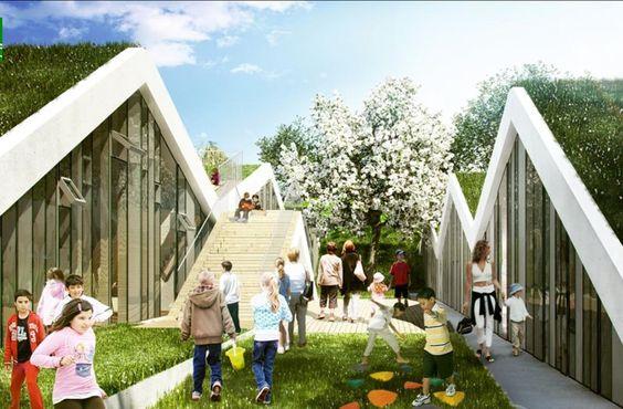 Escuela verde  Este proyecto ha sido presentado para realizar una escuela en Asminderod (Dinamarca) por el estudio de arquitectura Bjarke Ingels.