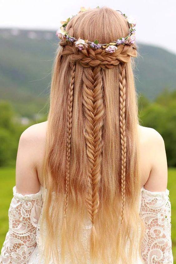Tresse Coiffures Medievales Coiffure Bijoux Cheveux