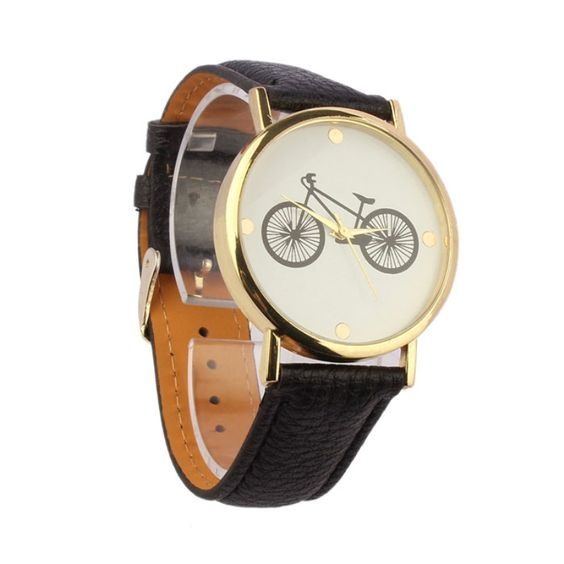 $1.79 (Buy here: http://appdeal.ru/5fe3 ) Men Wedding Unisex Bicycle Pattern Dial Leather Band Quartz Analog Wrist Watch Luxury Men Watch 2016 Relogios Masculino for just $1.79