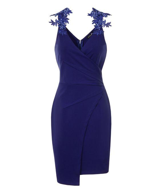Look what I found on #zulily! Royal Blue Floral Asymmetrical Hem Sheath Dress by Little Mistress #zulilyfinds