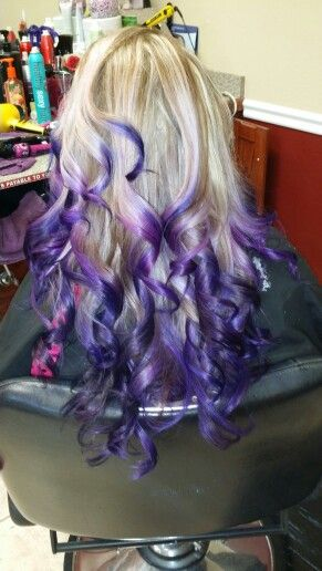 Purple ombre and highlights! Definitely one of  my favorite colors that I have done!
