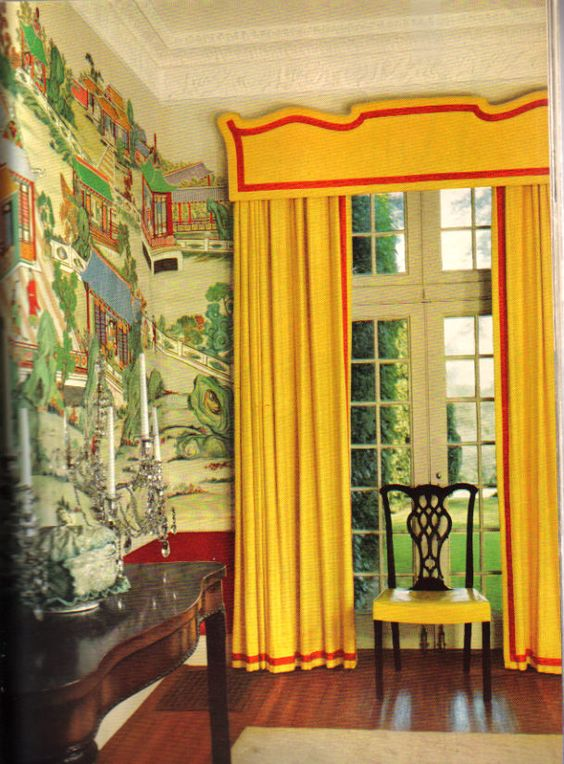 Curtains Ideas chinoiserie curtains : Billy Baldwin, yellow curtains, yellow drapes, yellow valance with ...
