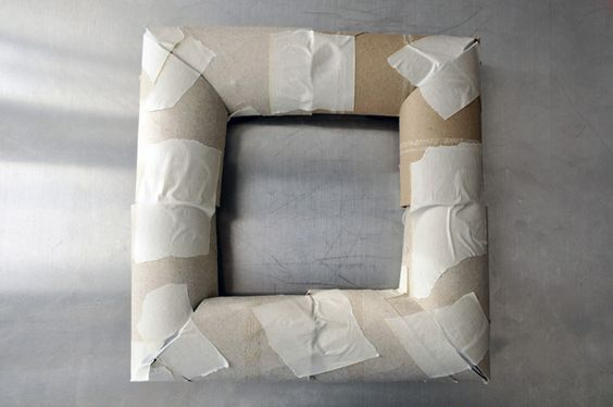 Use toilet paper rolls to make a square wreath form