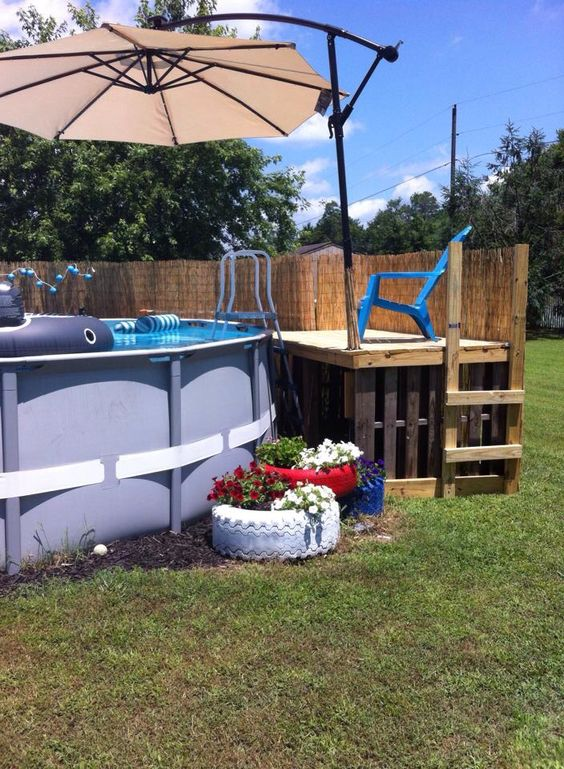 Pallet pool pool decks and umbrellas on pinterest - Above ground pool deck ideas on a budget ...