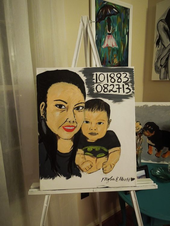 """A painting request for my sister """"the bond of a mother and son"""" is complete. Hope you like it sis! Love you and Moses. #acrylicpainting"""