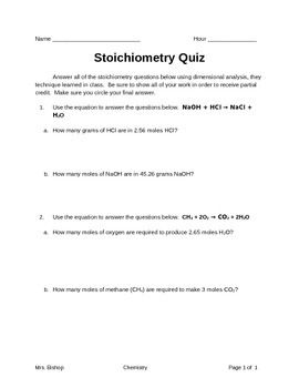 Stoichiometry Quiz | Teaching Tools, Assessment and Homework