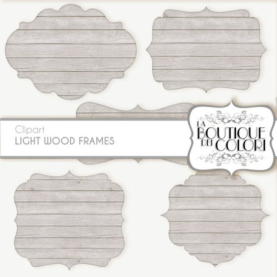 white Wood Frames Clipart: Wooden labels by LaBoutiqueDeiColori
