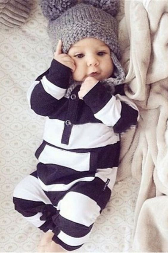 Infant Newborn Baby Boy Girl Star Striped Hooded Romper Jumpsuit Clothes Outfits
