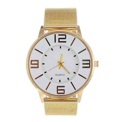 Gold Color Ladies Watch with Big Numbers