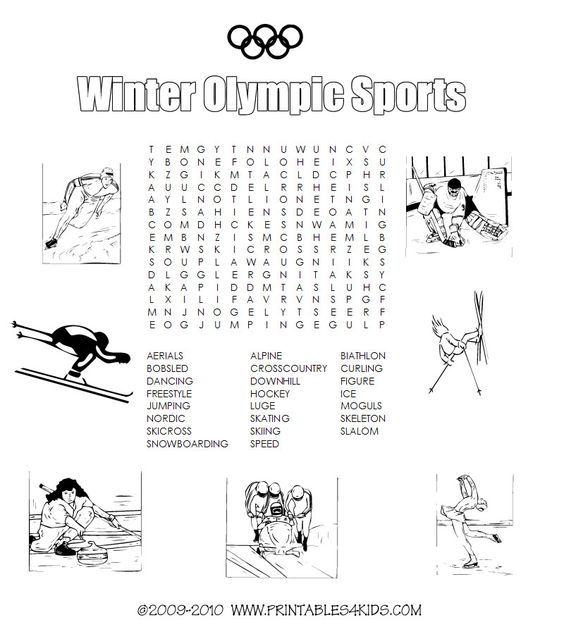 Winter Olympic sports printable