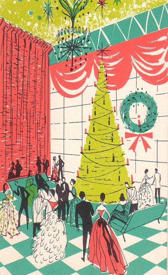Love the fabulous colour palette and charming mid-century style of this great vintage Christmas illustration. #art #illustration #Christmas #retro #vintage #pink #aqua #green #1950s