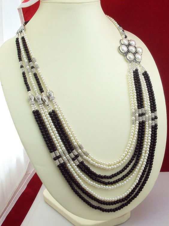 ne f-37  stunning  party wear BLACK ONYX  + PERAL  .925  silver beaded opera necklace 125   gram by SILVERHUT on Etsy
