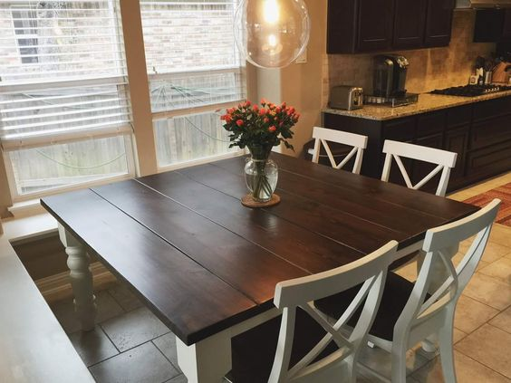 Square Baluster Table in Farmhouse Style Kitchen with X-Back Dining Chairs. https://carpenterjames.com/store/products/square-tables