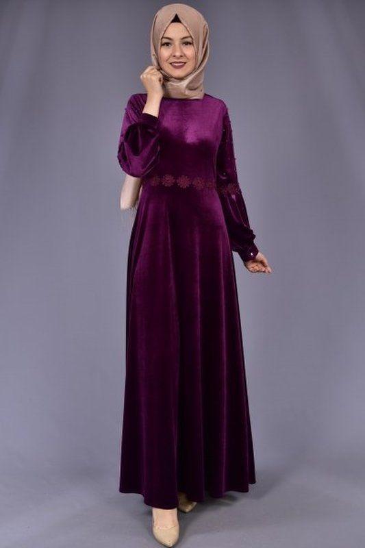 Modamerve Kol Incili Kadife Elbise Mor Yag 3025 Moda Stilleri Elbise Giyim