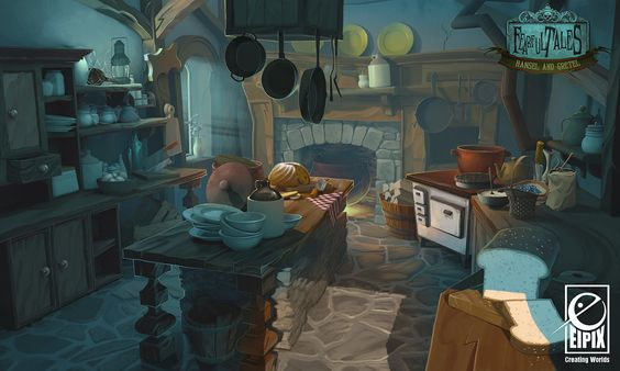 Fearful Tales - Inn Kitchen, Vanja Todoric on ArtStation at http://www.artstation.com/artwork/fearful-tales-inn-kitchen: