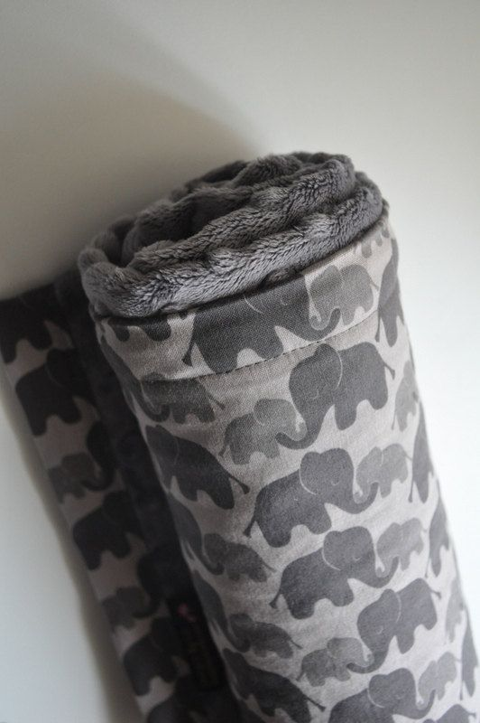Gender Neutral Baby Minky Blanket, XLARGE Snuggle Gray Grey Elephants and Grey Minky on Etsy, $32.27