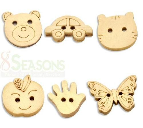 300 Mixed Animal Shape 2 Holes Wood Sewing Buttons Scrapbooking | eBay
