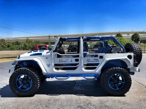 2018 Jeep Wrangler Custom White N Blue Lifted Leather Hardtop For