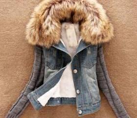 stylish Long Sleeve Flocking Denim Jacket