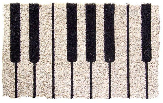 Entryways Piano Hand Woven Coir Doormat, 18 by 30-Inch