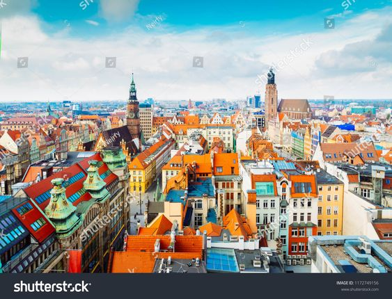 Panorama Of Wroclaw Bird Eye View Of Colorful Roofs Of Old Town Houses Wroclaw Poland Retro Tonedeye View Colorful Poland Country Panorama Birds Eye View