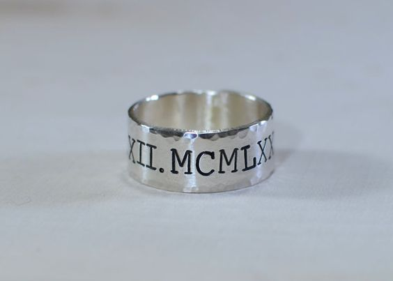 Roman numeral sterling silver ring with rustic by NiciLaskin