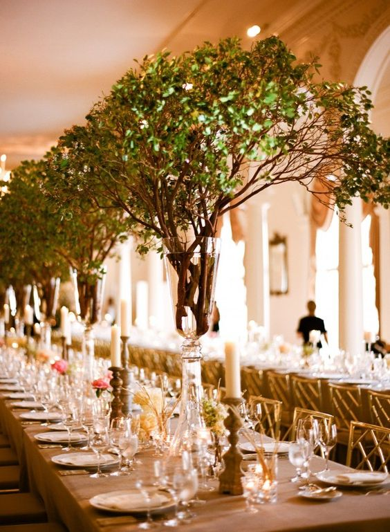 Not flowers but ginormous green branches beautiful for Twig centerpieces for weddings