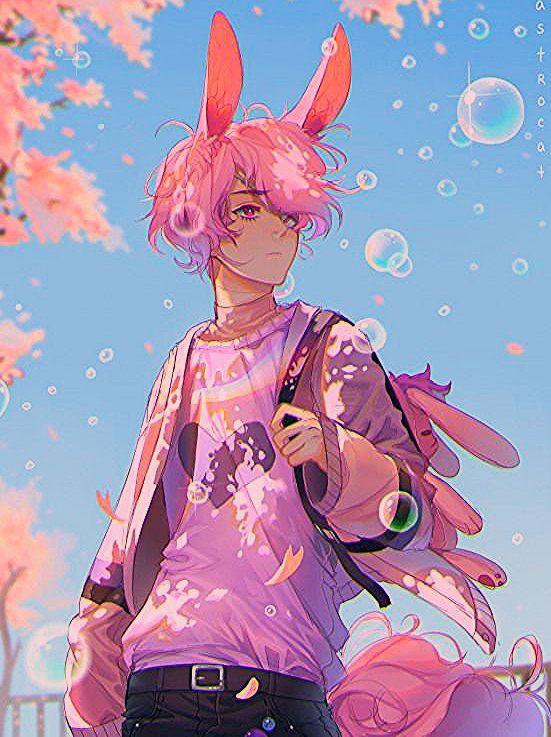 Pink Anime Boy With Bunny Ears Google Search Gothstyle Goth Style Anime In 2020 Anime Anime Boy Cute Anime Boy