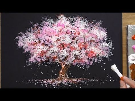 How To Paint A Cherry Tree In Acrylic Sakura Q Tip Painting Techniques Youtube Cherry Blossom Painting Sakura Painting Q Tip Painting