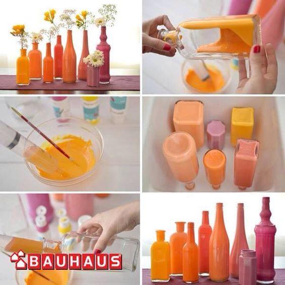 Flessen kleuren -> leuk voor overgebleven restjes verf!!!