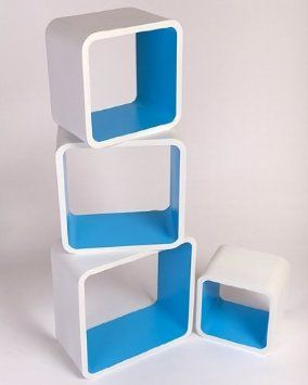 Retro Floating Shelves Bookcase Cube Shelving NEW 4pcs - White u0026 Blue  LO01BM: Amazon.co.uk: Kitchen u0026 Home   things