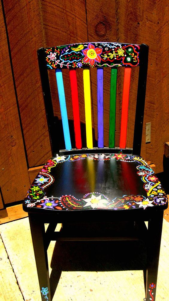 Hand Painted Funky Chairs To Order Black Chairs Painted