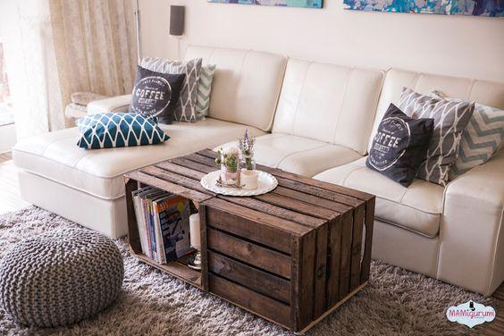 Wohnzimmertisch aus Obstkisten DIY \/\/ living \/\/ Deko für Zuhause