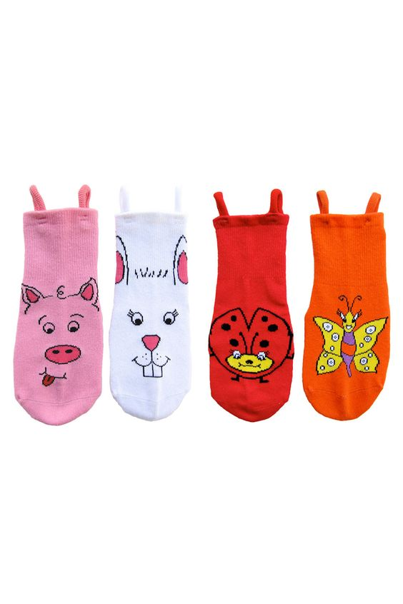 Animal Face Socks with Side Loops....makes it easy for kids to put on their own socks!