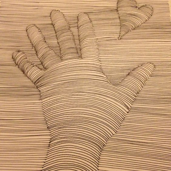Easy 3d Line Drawings : Easy quot d art trace hand lightly with pencil add a heart