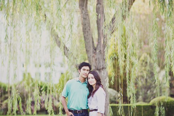 engagement under a willow tree
