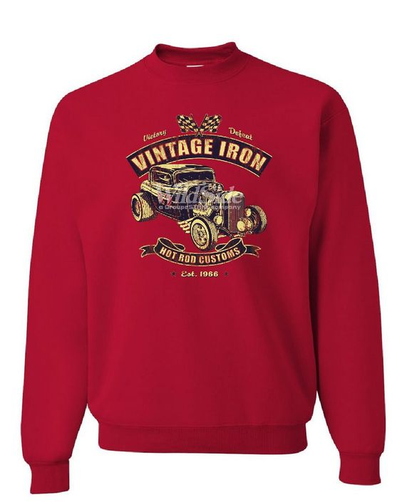 Vintage Iron Hot Rod Customs Hoodie Retro Muscle Car Route 66 Sweatshirt