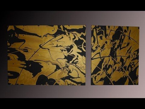 Pouring a fluid painting with gold and black - Abu Dhabi - Gecko Bilder [HD] - YouTube
